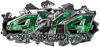 4x4 Cowgirl Edition Ripped Torn Metal Tear Truck Quad or SUV Sticker Set / Decal Kit in Green Inferno Flames