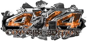 4x4 Cowgirl Edition Ripped Torn Metal Tear Truck Quad or SUV Sticker Set / Decal Kit in Orange Inferno Flames