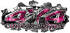 4x4 Cowgirl Edition Ripped Torn Metal Tear Truck Quad or SUV Sticker Set / Decal Kit in Pink Inferno Flames