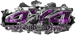 4x4 Cowgirl Edition Ripped Torn Metal Tear Truck Quad or SUV Sticker Set / Decal Kit in Purple Inferno Flames