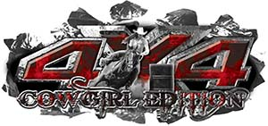 4x4 Cowgirl Edition Ripped Torn Metal Tear Truck Quad or SUV Sticker Set / Decal Kit in Red Inferno Flames