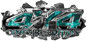 4x4 Cowgirl Edition Ripped Torn Metal Tear Truck Quad or SUV Sticker Set / Decal Kit in Teal Inferno Flames