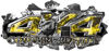 4x4 Cowgirl Edition Ripped Torn Metal Tear Truck Quad or SUV Sticker Set / Decal Kit in Yellow Inferno Flames