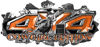 4x4 Cowgirl Edition Ripped Torn Metal Tear Truck Quad or SUV Sticker Set / Decal Kit in Orange