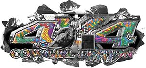 4x4 Cowgirl Edition Ripped Torn Metal Tear Truck Quad or SUV Sticker Set / Decal Kit in Psychedelic Art