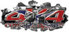 4x4 Cowgirl Edition Ripped Torn Metal Tear Truck Quad or SUV Sticker Set / Decal Kit in Confederate Rebel Battle Flag