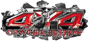 4x4 Cowgirl Edition Ripped Torn Metal Tear Truck Quad or SUV Sticker Set / Decal Kit in Red