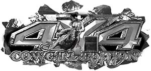 4x4 Cowgirl Edition Ripped Torn Metal Tear Truck Quad or SUV Sticker Set / Decal Kit in Silver