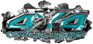 4x4 Cowgirl Edition Ripped Torn Metal Tear Truck Quad or SUV Sticker Set / Decal Kit in Teal