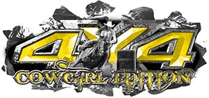 4x4 Cowgirl Edition Ripped Torn Metal Tear Truck Quad or SUV Sticker Set / Decal Kit in Yellow