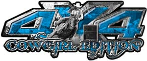 4x4 Cowgirl Edition Pickup Farm Truck Quad or SUV Sticker Set / Decal Kit in Blue Camouflage