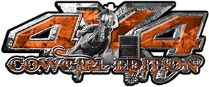 4x4 Cowgirl Edition Pickup Farm Truck Quad or SUV Sticker Set / Decal Kit in Orange Camouflage