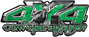 4x4 Cowgirl Edition Pickup Farm Truck Quad or SUV Sticker Set / Decal Kit in Green Diamond Plate