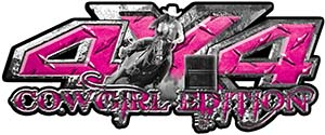 4x4 Cowgirl Edition Pickup Farm Truck Quad or SUV Sticker Set / Decal Kit in Pink Diamond Plate