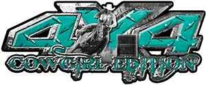 4x4 Cowgirl Edition Pickup Farm Truck Quad or SUV Sticker Set / Decal Kit in Teal Diamond Plate
