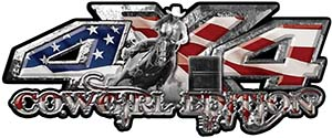 4x4 Cowgirl Edition Pickup Farm Truck Quad or SUV Sticker Set / Decal Kit in American Flag