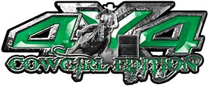 4x4 Cowgirl Edition Pickup Farm Truck Quad or SUV Sticker Set / Decal Kit in Green