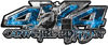 4x4 Cowgirl Edition Pickup Farm Truck Quad or SUV Sticker Set / Decal Kit in Blue Inferno Flames