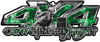 4x4 Cowgirl Edition Pickup Farm Truck Quad or SUV Sticker Set / Decal Kit in Green Inferno Flames