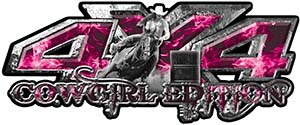 4x4 Cowgirl Edition Pickup Farm Truck Quad or SUV Sticker Set / Decal Kit in Pink Inferno Flames