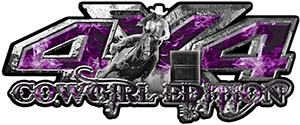 4x4 Cowgirl Edition Pickup Farm Truck Quad or SUV Sticker Set / Decal Kit in Purple Inferno Flames