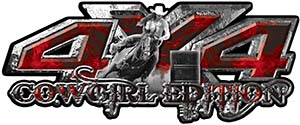 4x4 Cowgirl Edition Pickup Farm Truck Quad or SUV Sticker Set / Decal Kit in Red Inferno Flames