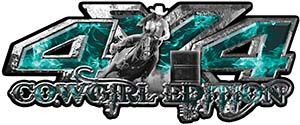 4x4 Cowgirl Edition Pickup Farm Truck Quad or SUV Sticker Set / Decal Kit in Teal Inferno Flames