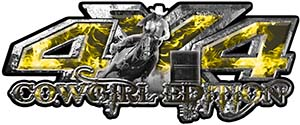 4x4 Cowgirl Edition Pickup Farm Truck Quad or SUV Sticker Set / Decal Kit in Yelow Inferno Flames