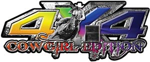 4x4 Cowgirl Edition Pickup Farm Truck Quad or SUV Sticker Set / Decal Kit in Rainbow Colors