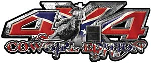 4x4 Cowgirl Edition Pickup Farm Truck Quad or SUV Sticker Set / Decal Kit with Confederate Rebel Battle Flag