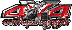 4x4 Cowgirl Edition Pickup Farm Truck Quad or SUV Sticker Set / Decal Kit in Red