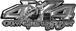4x4 Cowgirl Edition Pickup Farm Truck Quad or SUV Sticker Set / Decal Kit in Silver