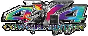 4x4 Cowgirl Edition Pickup Farm Truck Quad or SUV Sticker Set / Decal Kit in Tie Dye Colors
