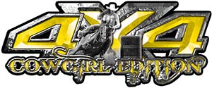 4x4 Cowgirl Edition Pickup Farm Truck Quad or SUV Sticker Set / Decal Kit in Yellow