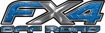 Ford F-150 4x4 Truck FX4 Off Road Style Decal Kit in Blue Diamond Plate