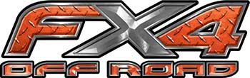 Ford F-150 4x4 Truck FX4 Off Road Style Decal Kit in Orange Diamond Plate