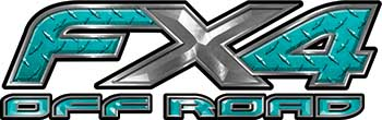 Ford F-150 4x4 Truck FX4 Off Road Style Decal Kit in Teal Diamond Plate