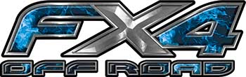 Ford F-150 4x4 Truck FX4 Off Road Style Decal Kit in Blue Inferno Flames
