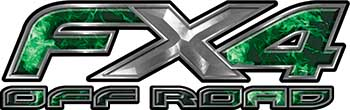 Ford F-150 4x4 Truck FX4 Off Road Style Decal Kit in Green Inferno Flames