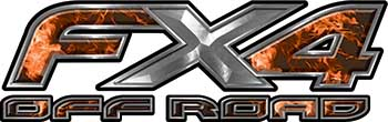Ford F-150 4x4 Truck FX4 Off Road Style Decal Kit in Orange Inferno Flames