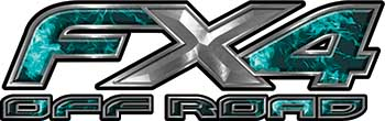 Ford F-150 4x4 Truck FX4 Off Road Style Decal Kit in Teal Inferno Flames