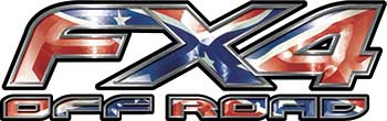 Ford F-150 4x4 Truck FX4 Off Road Style Decal Kit with Rebel Confederate Battle Flag