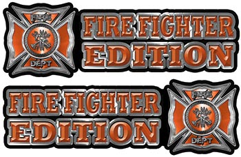 Maltese Cross Fire Fighter Edition Decals in Orange
