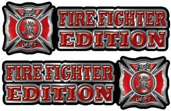 Maltese Cross Fire Fighter Edition Decals in Red