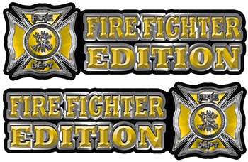 Maltese Cross Fire Fighter Edition Decals in Yellow