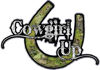 Cowgirl Up Decal / Sticker Western Style Writing with Horseshoe in Camouflage