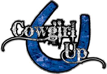 Cowgirl Up Decal / Sticker Western Style Writing with Horseshoe in Blue Camouflage
