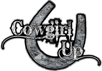 Cowgirl Up Decal / Sticker Western Style Writing with Horseshoe in Gray Camouflage