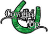 Cowgirl Up Decal / Sticker Western Style Writing with Horseshoe in Green Camouflage