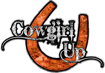 Cowgirl Up Decal / Sticker Western Style Writing with Horseshoe in Orange Camouflage